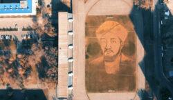 Огромный портрет аль-Фараби из листьев нарисовали на футбольном поле в…